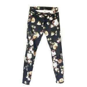 7 For All Mankind* Stretch Floral Skinny Jeans 25